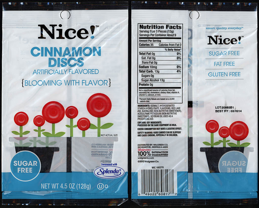 Walgreens Nice! - Cinnamon Discs - candy package - 2012