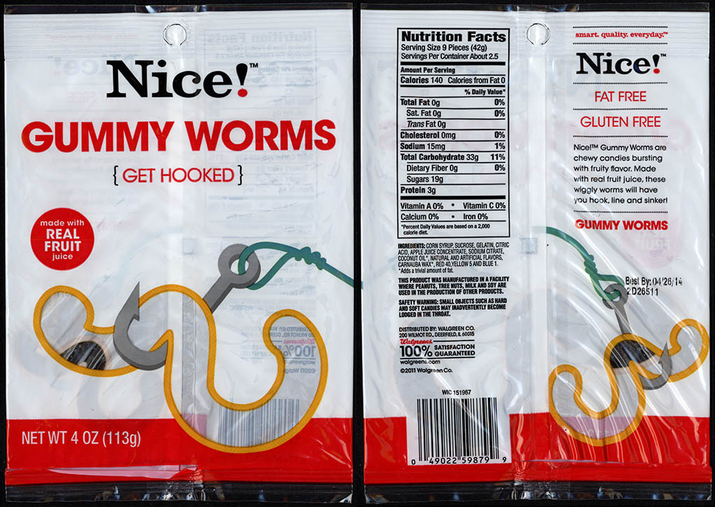 Walgreens Nice! - Gummy Worms - candy package - 2012