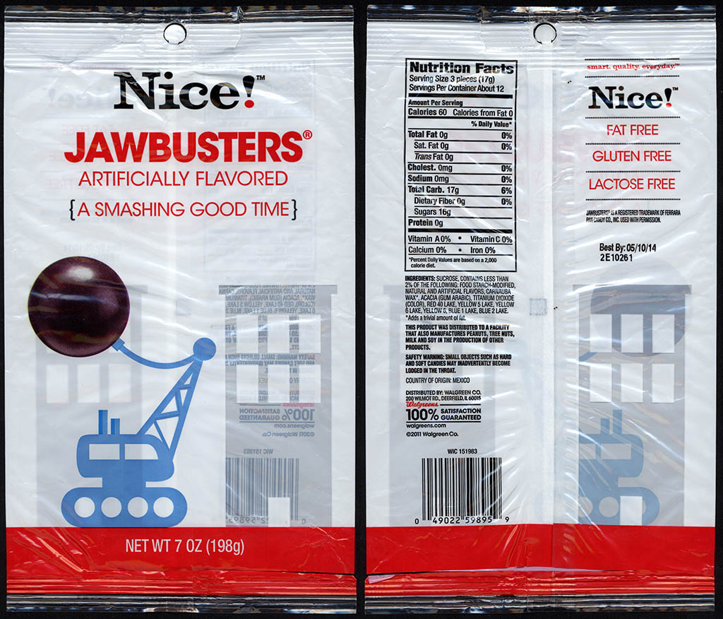 Walgreens Nice! - Jawbusters - candy package - 2012