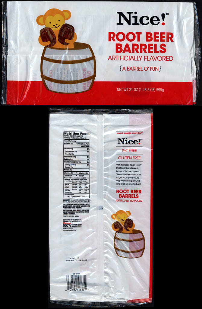 Walgreens Nice! - Root Beer Barrels - candy package - 2012