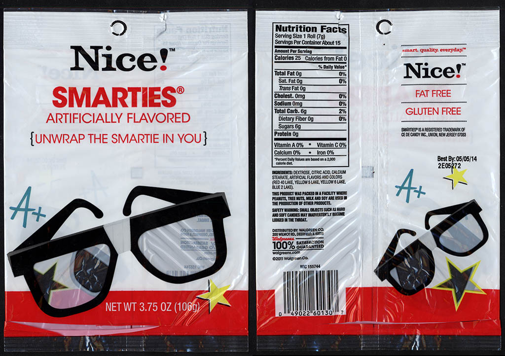 Walgreens Nice! - Smarties - candy package - 2012