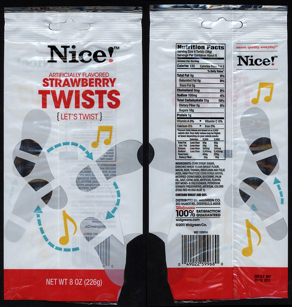 Walgreens Nice! - Strawberry Twists - candy package - 2012