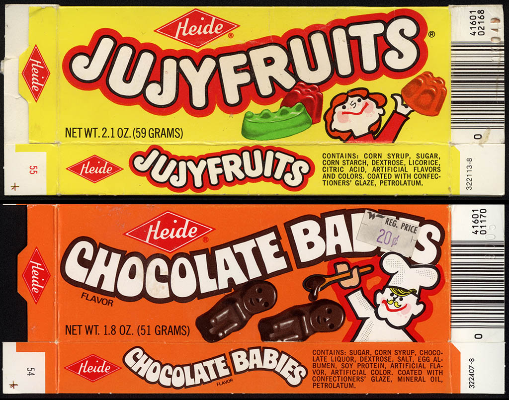 Heide - 1980 mascot box comparison - Jujyfruits and Chocolate Babies - Early 80's