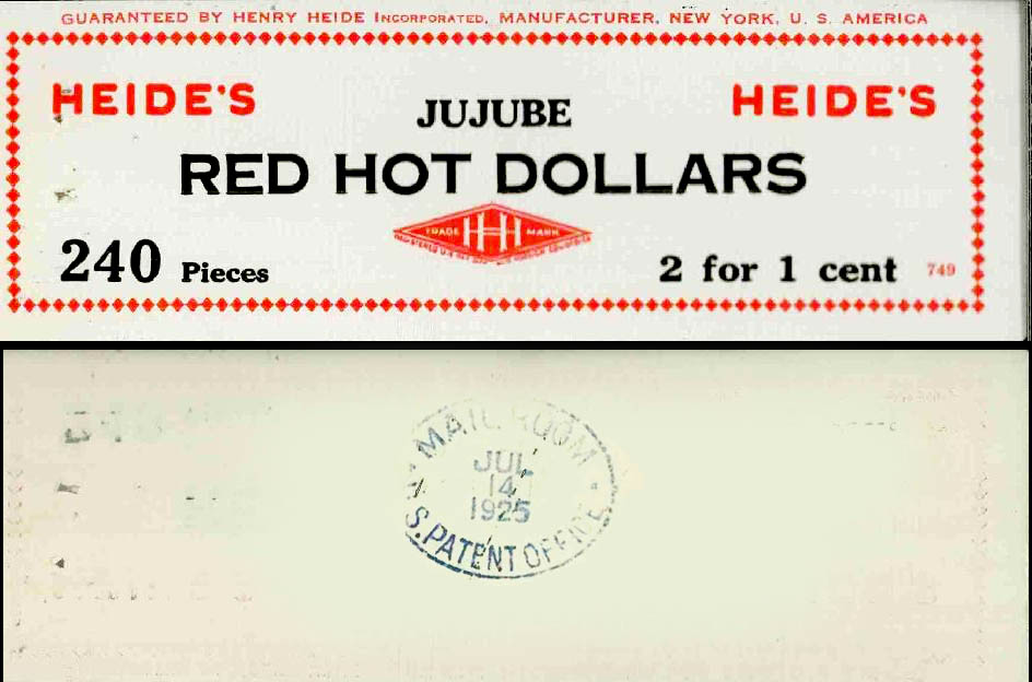 Heides - Red Hot Dollars - candy display tag label - 1925 - Source US TEademark Archives