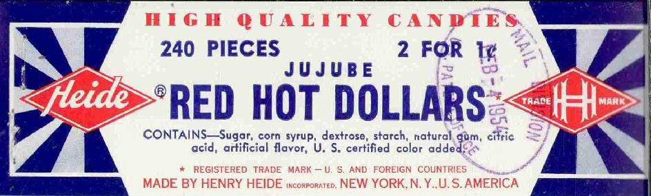 Heides - Red Hot Dollars - candy display tag label - 1954 - Source US Trademark Office Archives