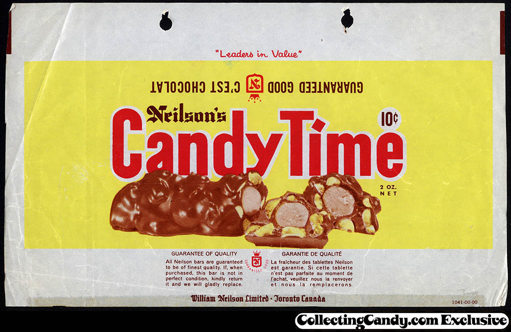 Canada - Neilson's - Candy Time - 10-cent chocolate candy bar wrapper - circa 1965