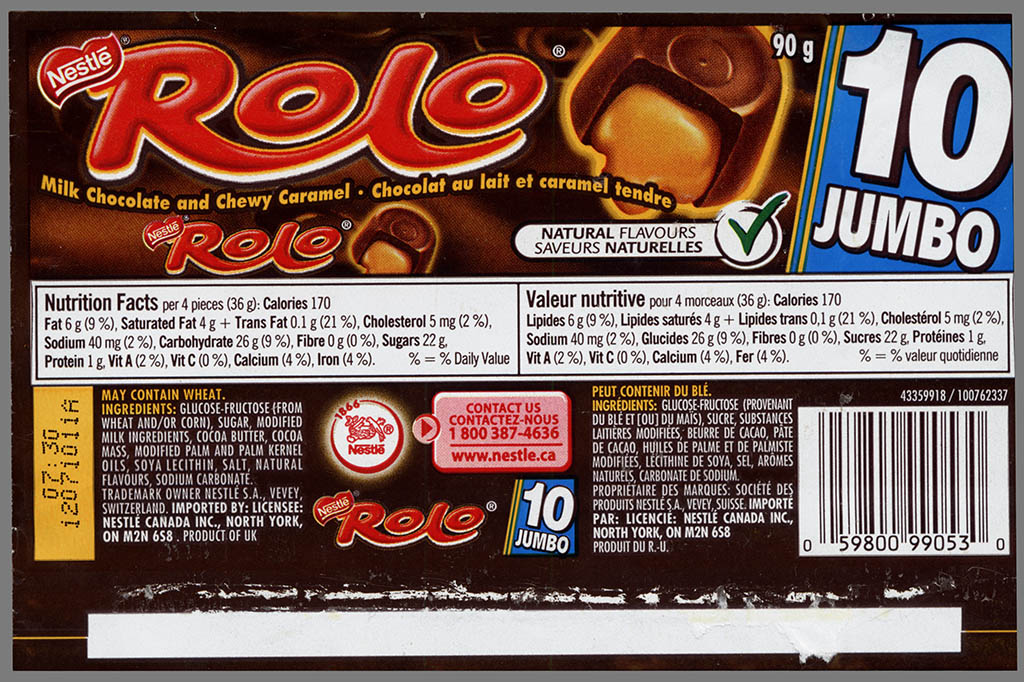 Canada - Nestle - Rolo Jumbo - candy roll wrapper - 2010