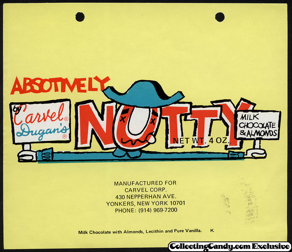 Carvel Corp - Absotively Nutty - by Carvel Dugan's - candy bar wrapper - circa 1974