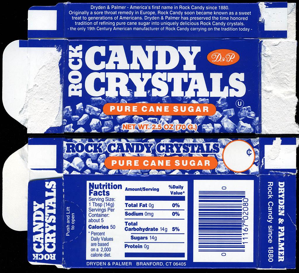 Dryden & Palmer - Rock Candy Crystals - Pure Cane Sugar candy box - 2009