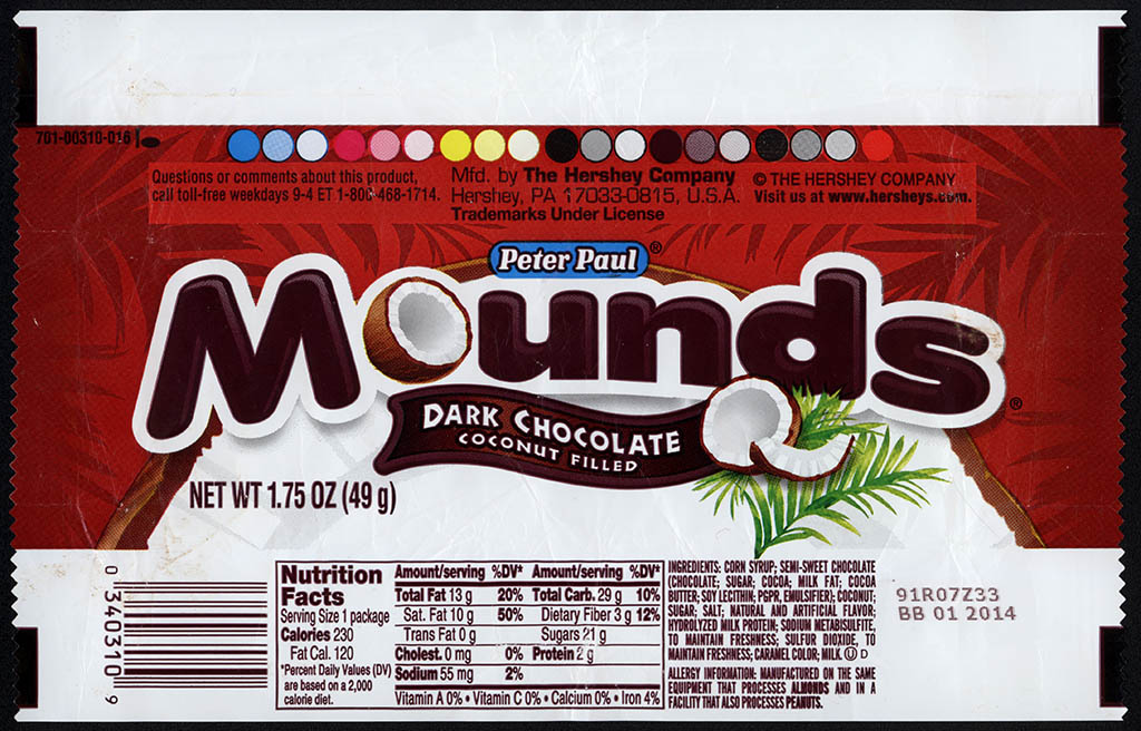 Hershey - Peter Paul - Mounds - dark chocolate candy bar wrapper - 2012