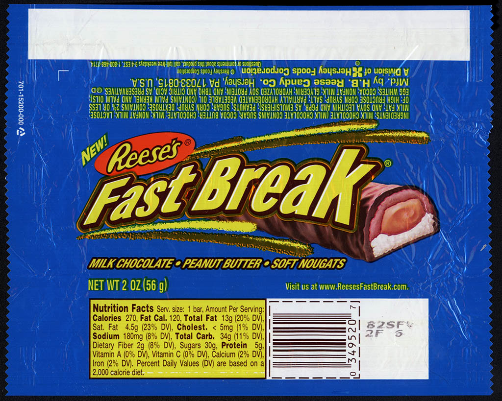Hershey - Reese's - Fast Break - NEW - candy bar wrapper - 2003