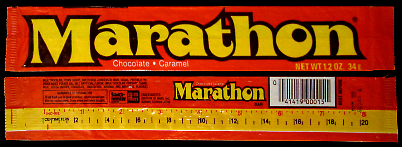 Mars - Marathon bar - chocolate candy wrapper - 1980 - Image courtesy Jon Mankuta