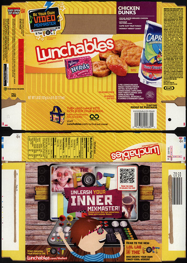 Kraft Foods - Lunchables - Chicken Dunks - Wonka Nerds - package box - 2013
