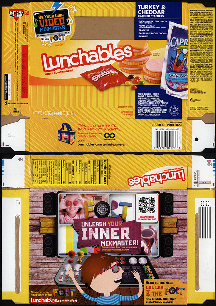 Kraft Foods - Lunchables - Turkey & Cheddar - Skittles - package box - 2013