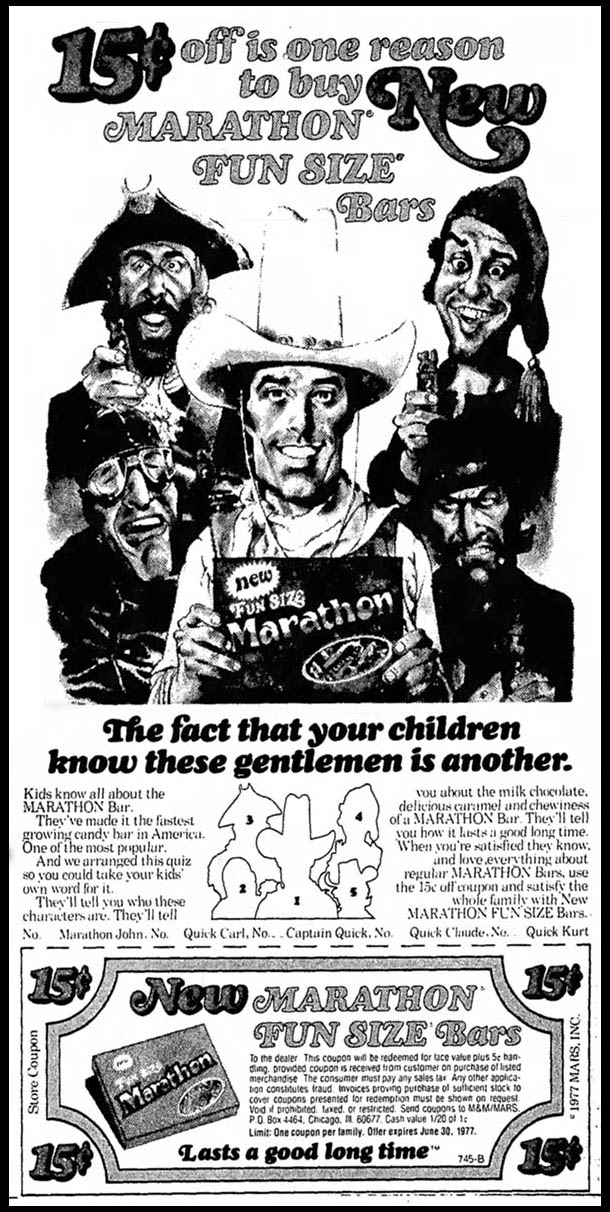Marathon Bar - Marathon John newspaper ad - 1977