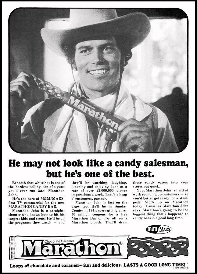 Marathon John - candy trade ad - January 1974