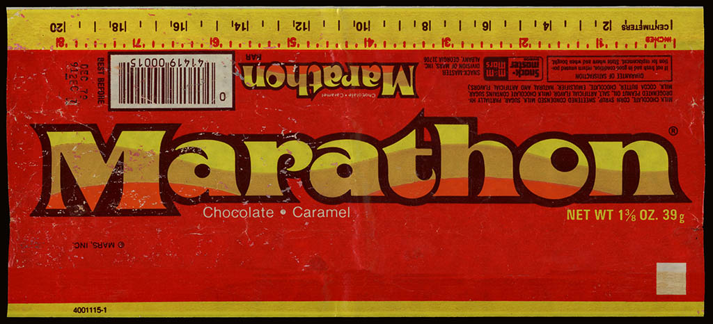 Mars - Marathon bar - chocolate wrapper - 1979