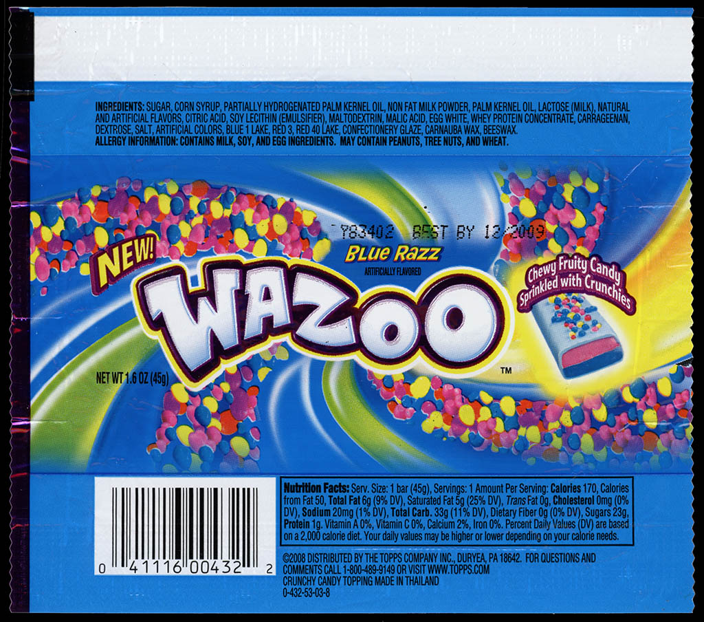 Topps - Wazoo Blue Razz - NEW - candy bar wrapper - 2009