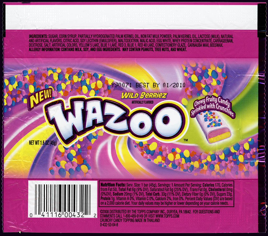Topps - Wazoo Wild Berriez - NEW - candy bar wrapper - 2009