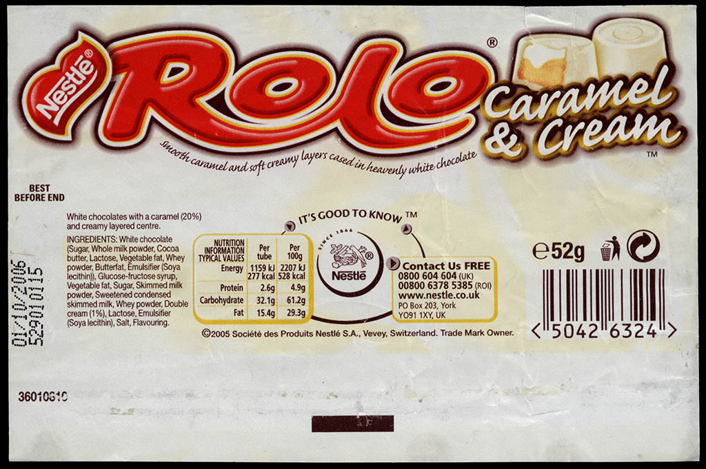 UK - Nestle Rolo Caramel & Cream - candy roll wrapper - 2005