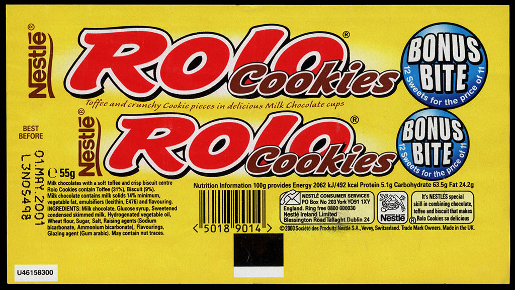 UK - Nestle Rolo Cookies - Bonus Bite - candy roll wrapper - 2001