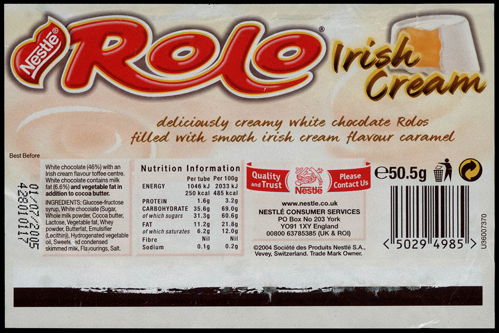 UK - Nestle Rolo Irish Cream - candy roll wrapper - 2004