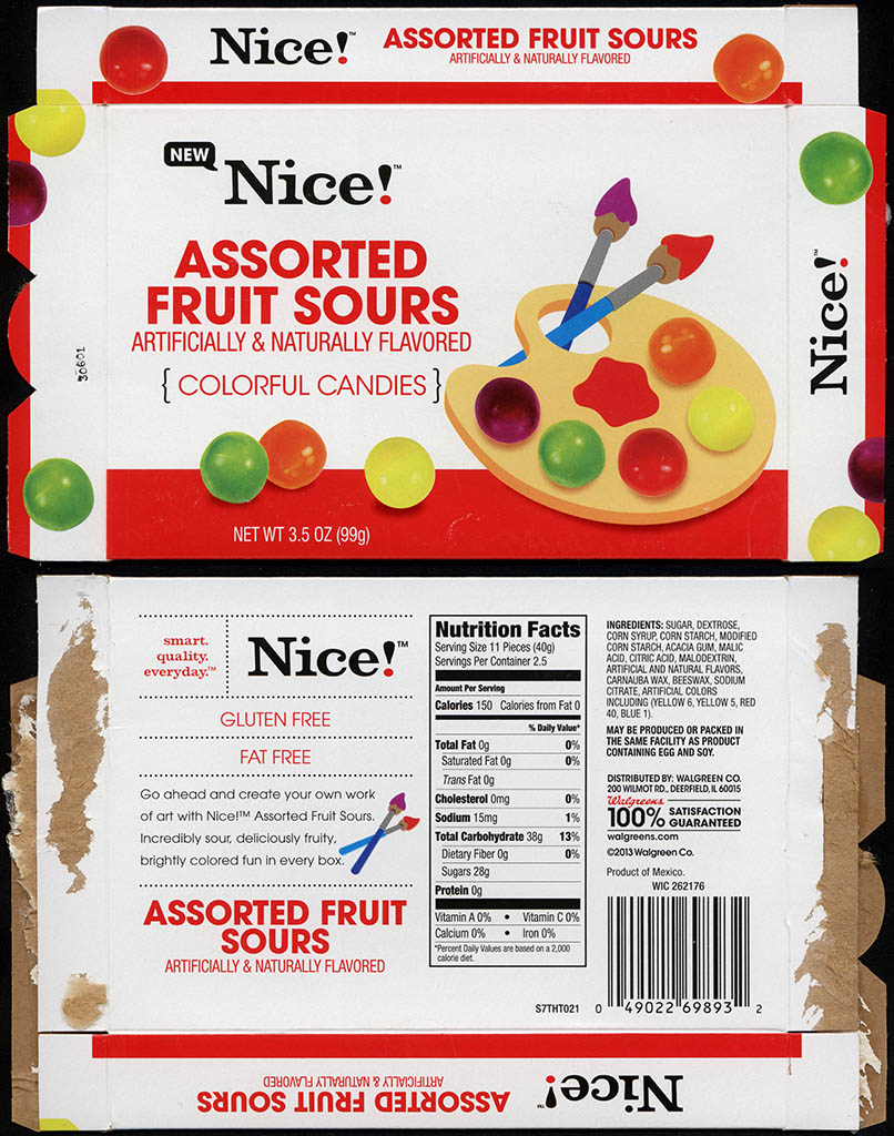 Walgreens - Nice - Assorted Fruit Sours - boxed store-brand candy - 2013