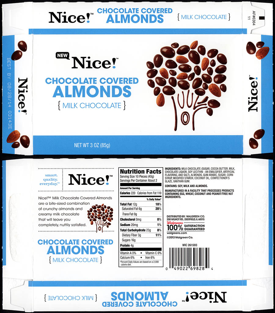 Walgreens - Nice - Chocolate Covered Almonds - boxed store-brand candy - 2013