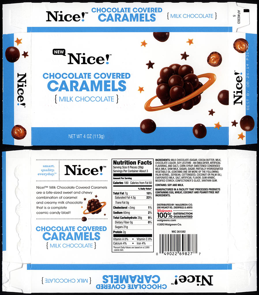 Walgreens - Nice - Chocolate Covered Caramels - boxed store-brand candy - 2013