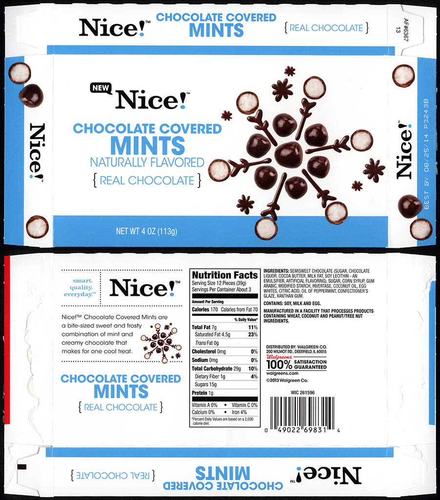 Walgreens - Nice - Chocolate Covered Mints - boxed store-brand candy - 2013