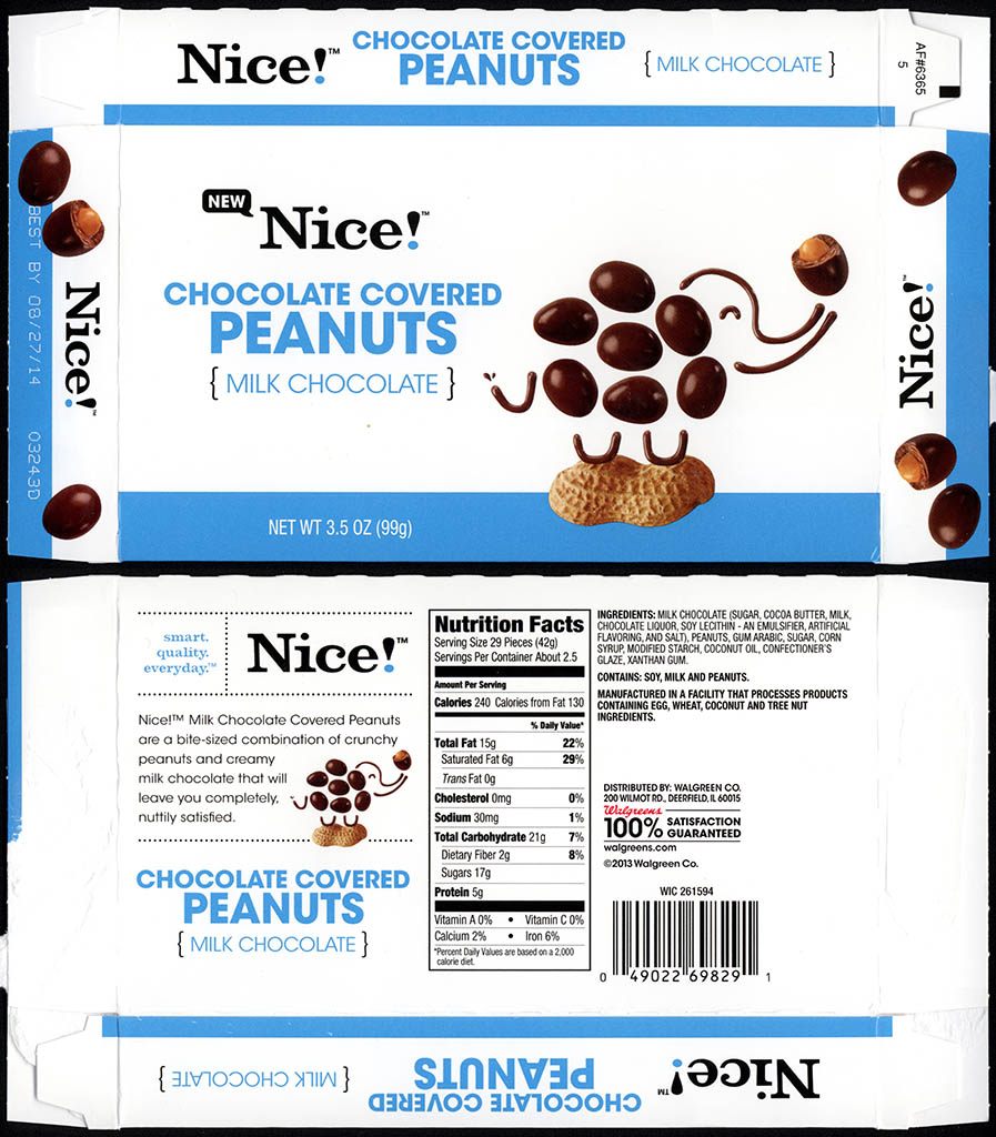 Walgreens - Nice - Chocolate Covered Peanuts - boxed store-brand candy - 2013