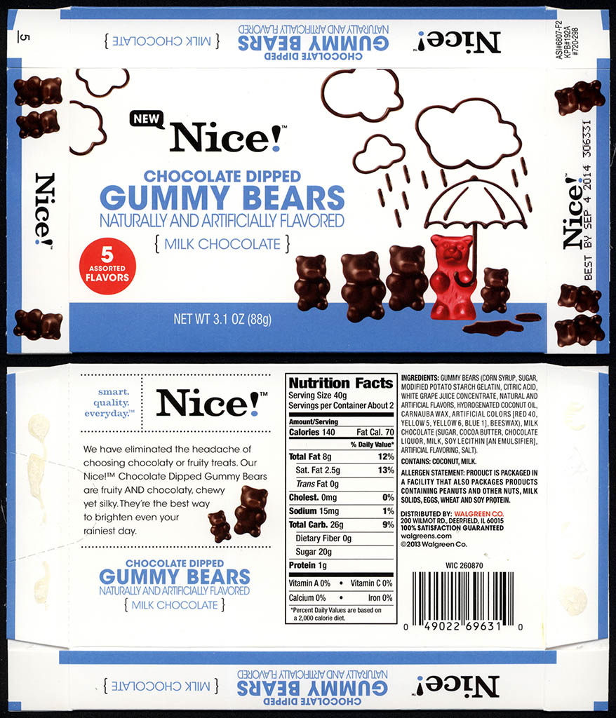 Walgreens - Nice - Chocolate Dipped Gummy Bears - boxed store-brand candy - 2013