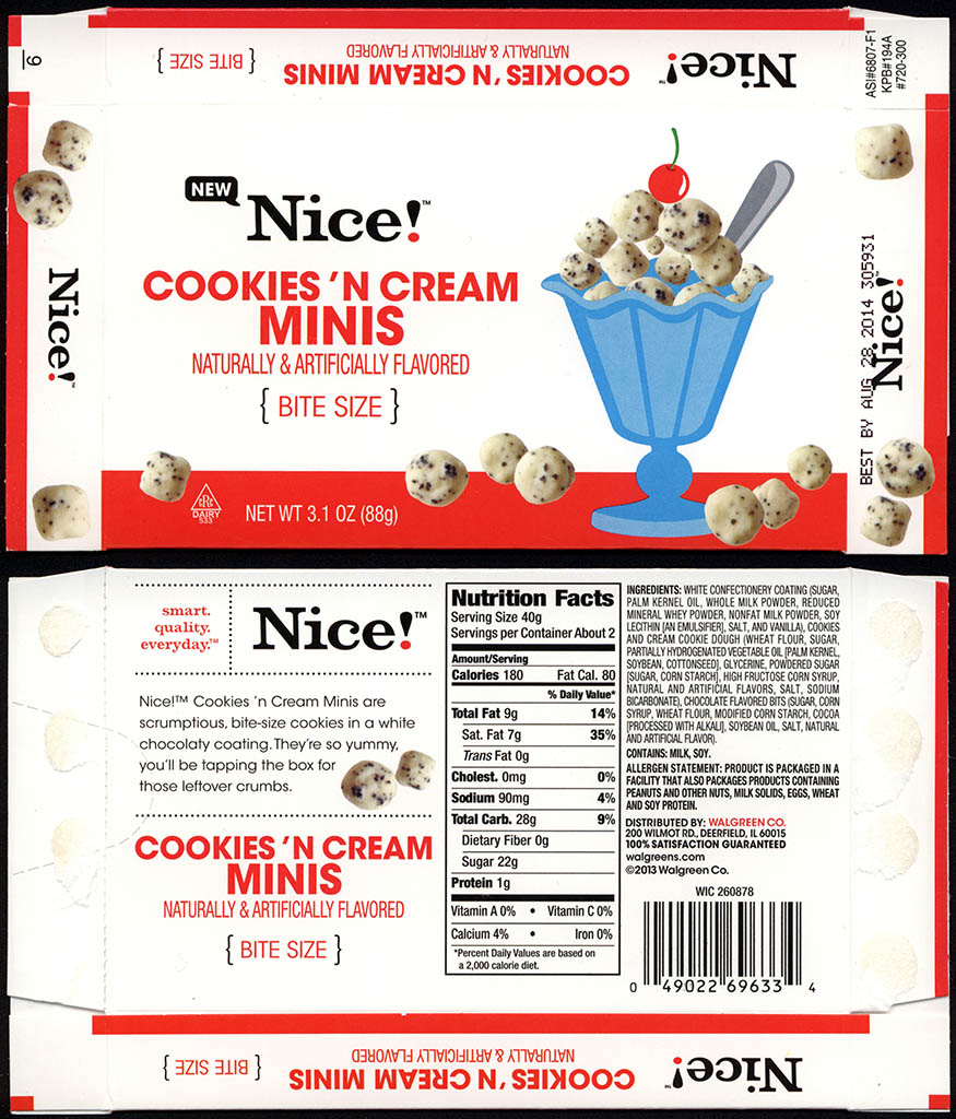 Walgreens - Nice - Cookie 'n Cream Minis - boxed store-brand candy - 2013