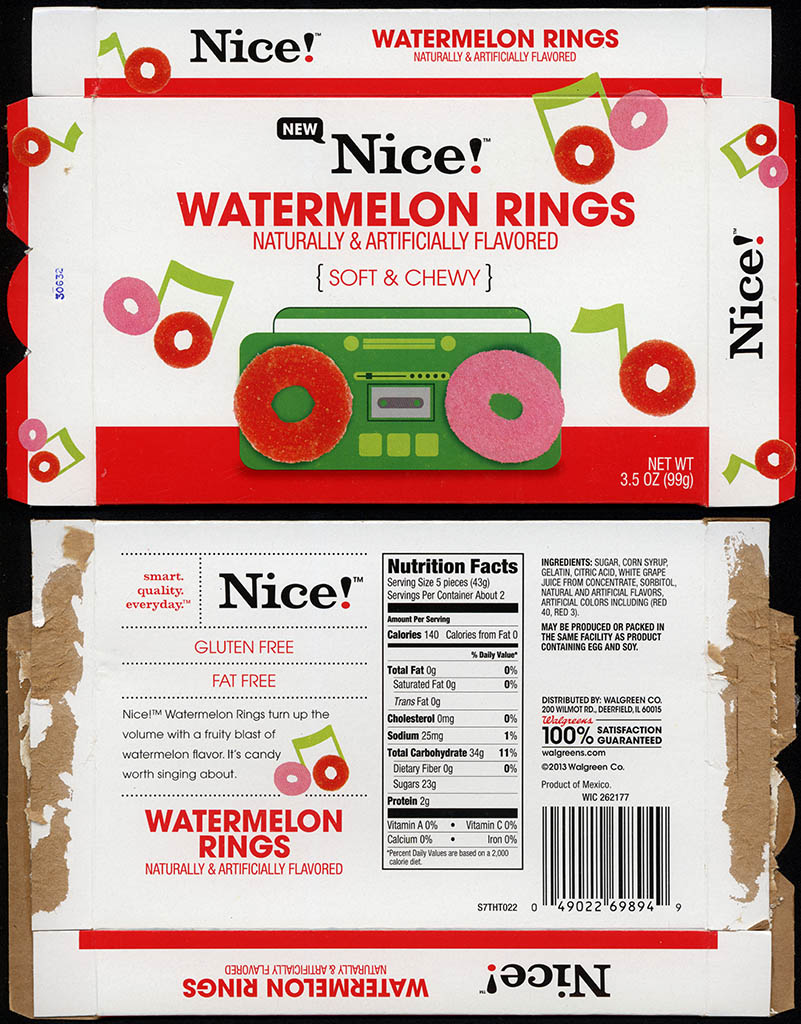 Walgreens - Nice - Watermelon Rings - boxed store-brand candy - 2013