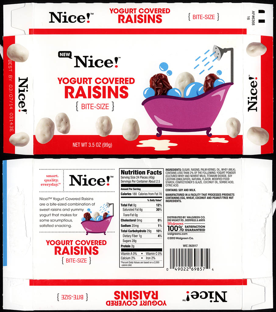 Walgreens - Nice - Yogurt Covered Raisins - boxed store-brand candy - 2013