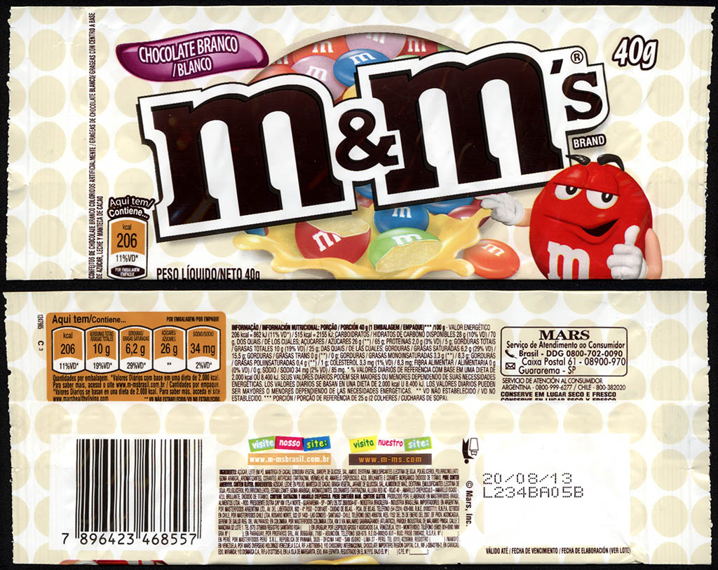 Brazil - Mars - M&M's Chocolate Blanco - White Chocolate - candy package - 2012