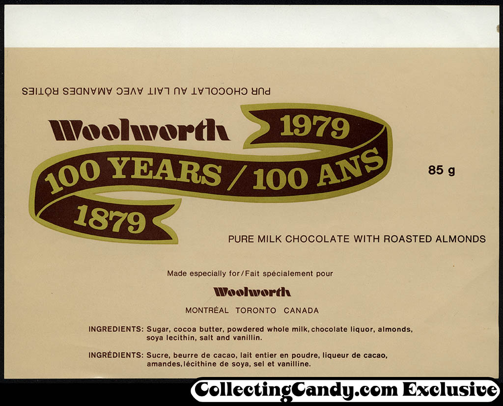 Canada - Woolworth 100 Year Anniversary candy bar wrapper - 1979