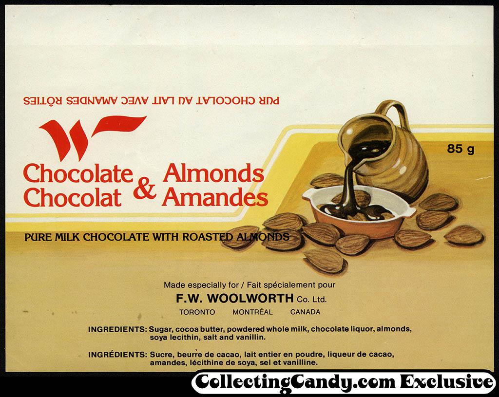 Canada - Woolworth - Chocolate and Almonds - candy bar wrapper - 1980's