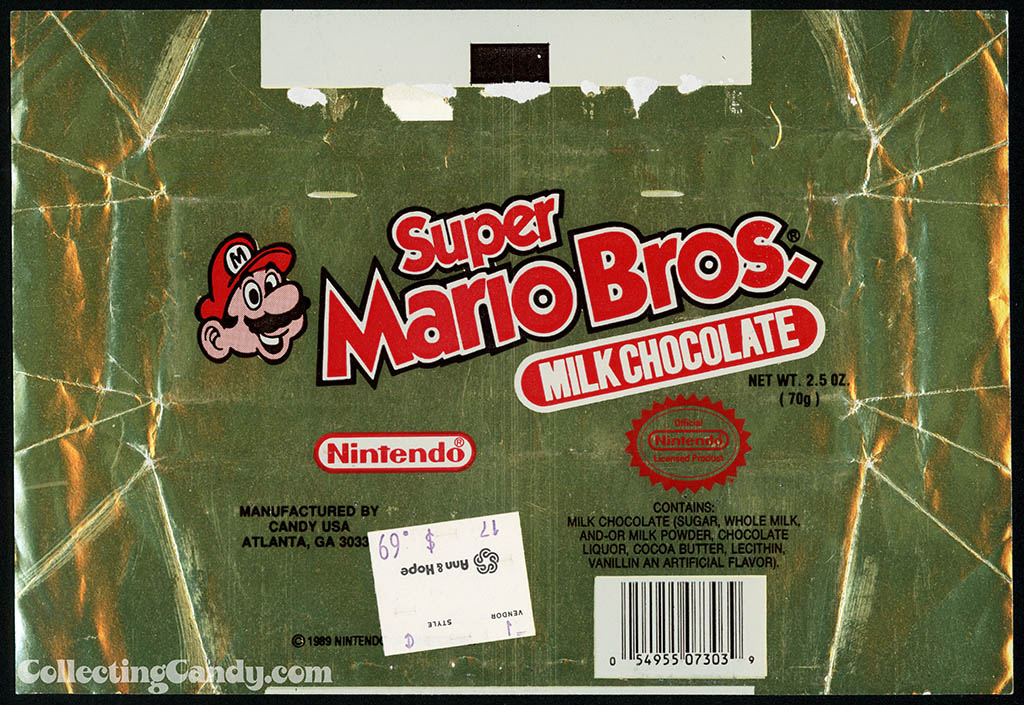 Candy USA - Super Mario Bros Milk Chocolate - candy bar wrapper - 1989