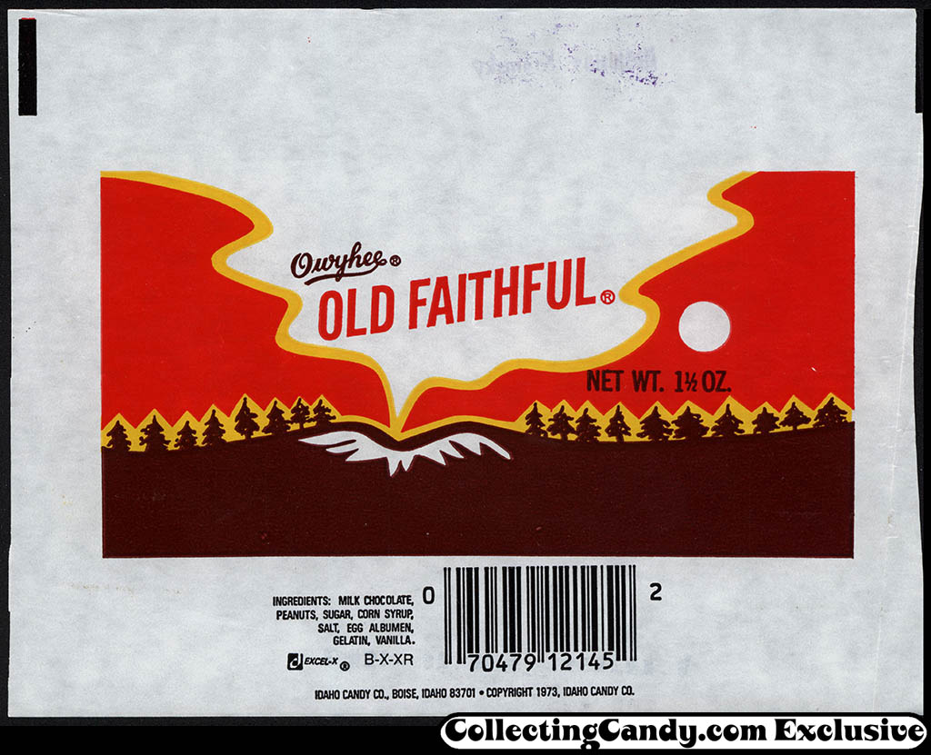 Idaho Candy Company - Owyhee - Old Faithful - candy wrapper - 1982