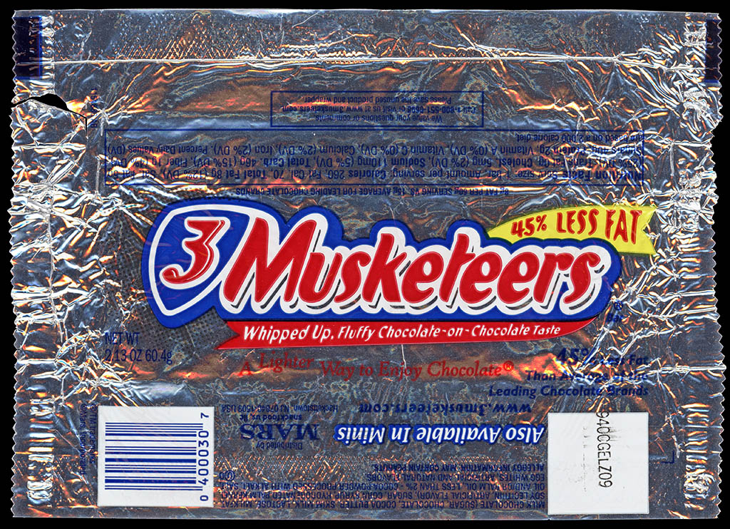 M&M-Mars - 3-Musketeers chocolate candy bar wrapper - 2011