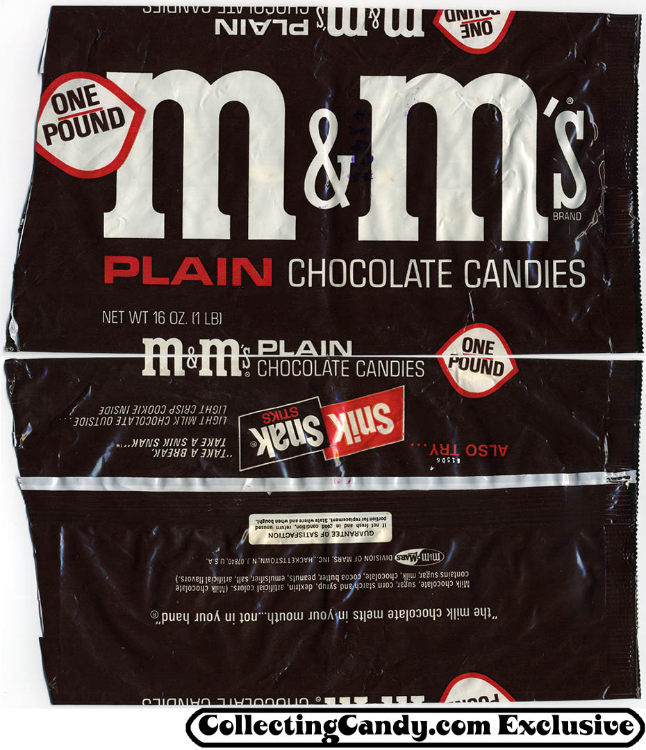 M&M Mars - M&M's Plain Chocolate Candies - One Pound bag - Snick Snack Sticks on back - mid-1970's