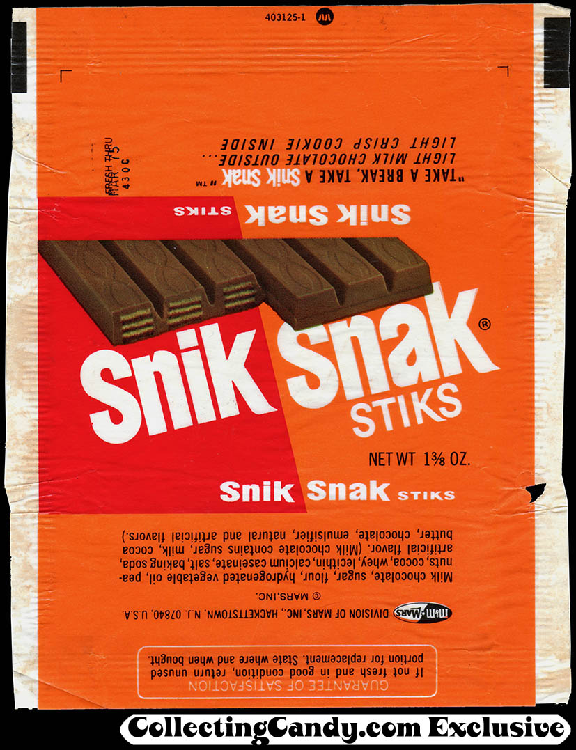M&M Mars - Snik Snak Stiks [Kit Kat] - candy bar wrapper - late 1974