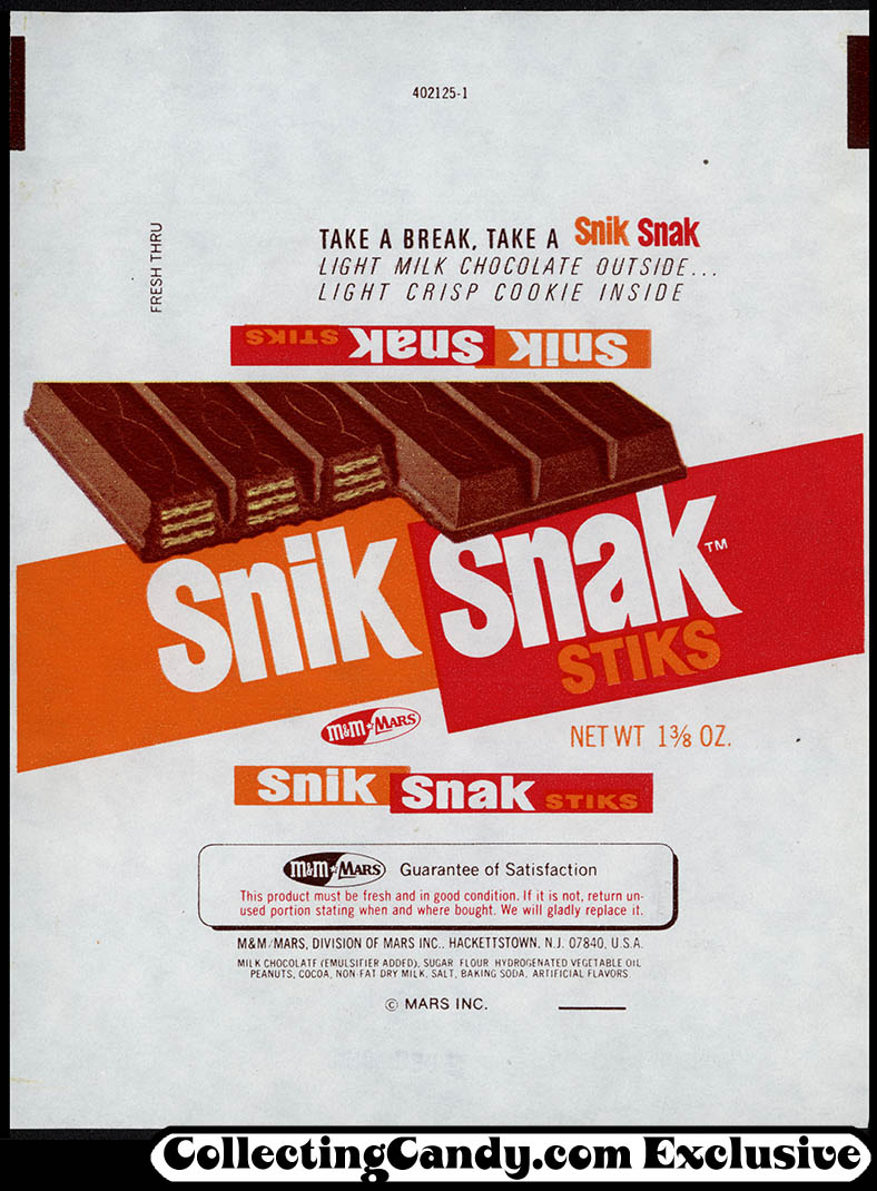 M&M Mars - Snik Snak Stiks [Kit Kat] - candy bar wrapper - 1973
