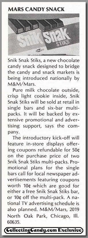 M&M-Mars - Snik Snak - candy trade announcement clipping - April 1973