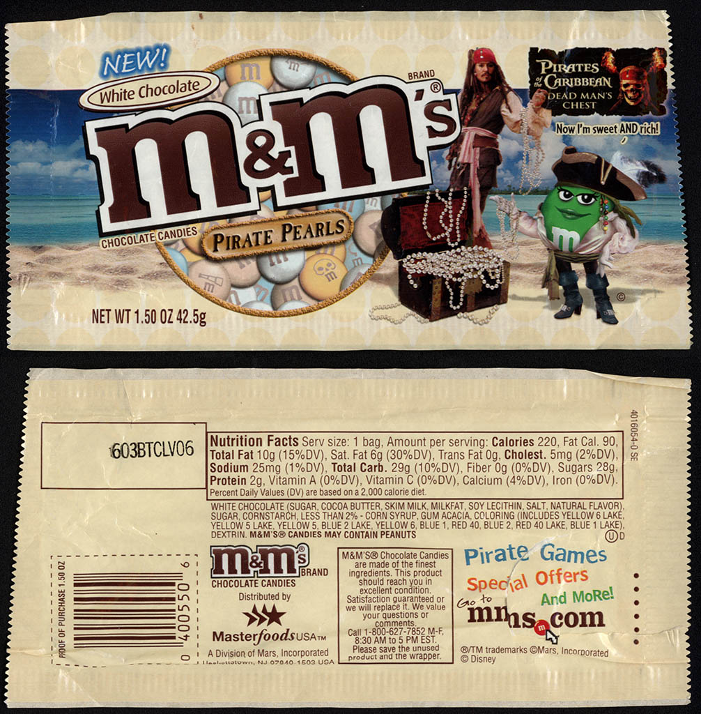 Mars - M&M's White Chocolate Pirate Pearls - Pirates of the Carribbean Dead Man's Chest - 1.5 oz candy package - Summer 2006