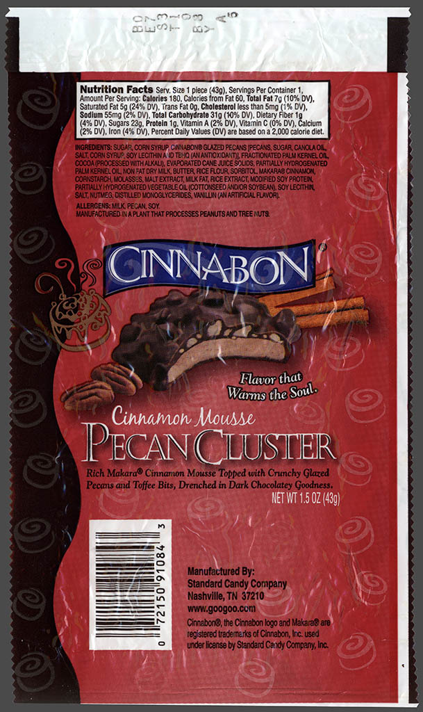 Standard Candy Company - Cinnabon - Cinnamon Mousse Pecan Cluster - candy wrapper - 2007
