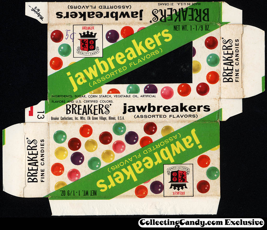 Breaker Confectioners - Breaker's Jawbreakers - candy box - 1964
