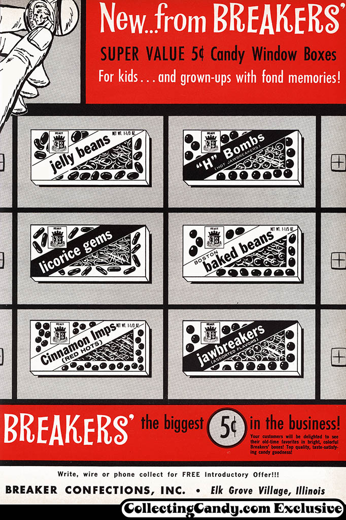 Breaker Confections - Breakers Super Value 5-cent candy window boxes - trade magazine ad - National Candy Wholesaler Magazine - February 1963