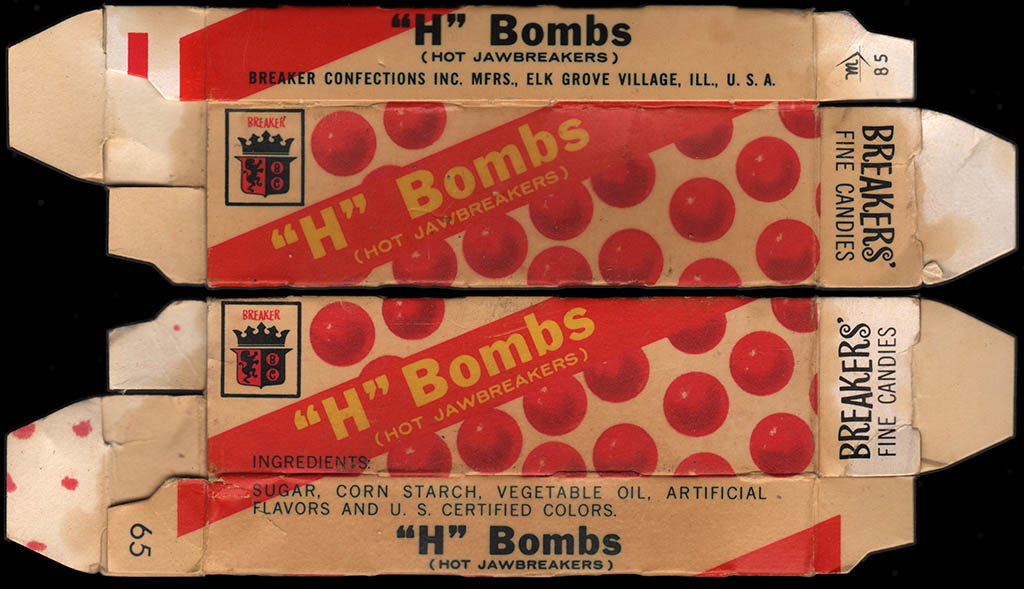 Breakers' Fine Candies - Breaker Confections - H Bombs hot jawbreakers candy box - 1960's